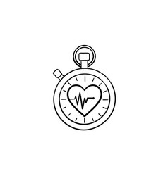 stopwatch with heart symbol hand drawn outline vector image