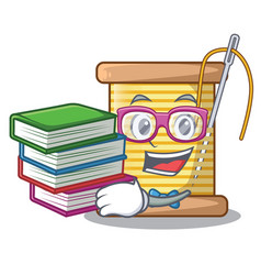 Student with book thread spool in a shape cartoon vector