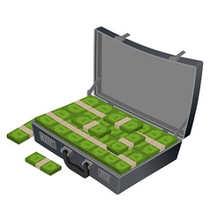 Suitcase with money Case with cash Suitcase with vector image