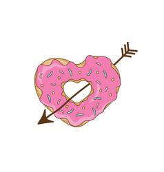Sweet heart from a donut with an arrow vector