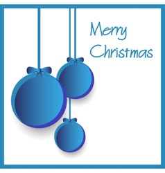 Three blue paper christmas decoration baubles vector