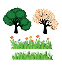Trees and flowers vector image