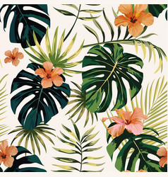 Tropical plants leaves flowers hibiscus seamless vector