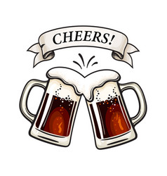 Two toasting beer mugs cheers text on old ribbon vector