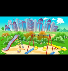 View on the playground with city vector