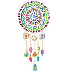 Watercolor dreamcatcher vector