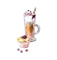 Watercolor glass coffee muffin vector