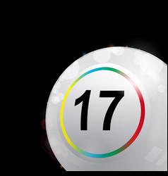 White bingo lotto ball in a corner of black vector