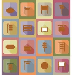 wooden board flat icons 20 vector image
