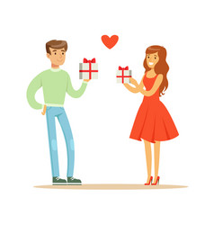 young enamored woman and man standing and holding vector image