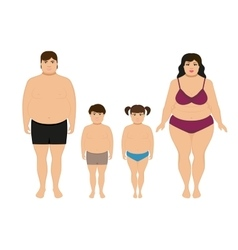 cartoon happy fat overweight family vector image vector image