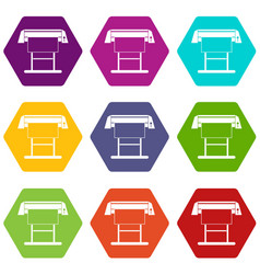 large format inkjet printer icon set color vector image vector image