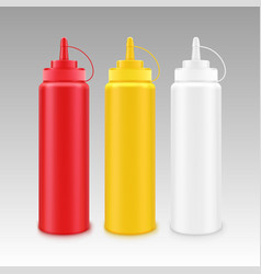 set of white red yellow mustard ketchup bottle vector image