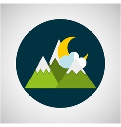 snowy mountains moon cloud weather concept design vector image