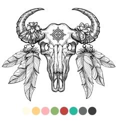 Animal skull coloring design vector image