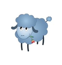 Black Sheep Cartoon Character Eating A Flower vector image