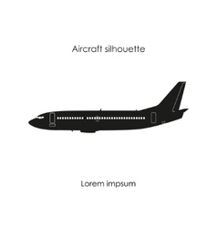 Black silhouette of a civil airplane vector image