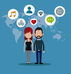 couple social media world icons vector image