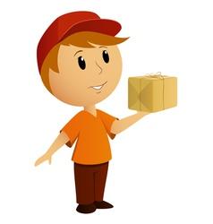 delivery boy box vector image
