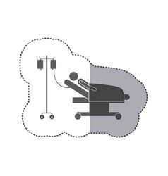 sticker monochrome pictogram person hospitalized vector image vector image