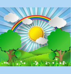 sunlight on cloud with rainbow over field vector image