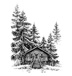 a wooden cabin in the pine forest idyllic winter vector image