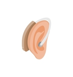 Hearing aid on an ear icon isometric 3d style vector image vector image