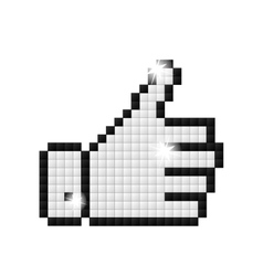 Outline pixelated hand with ok vector