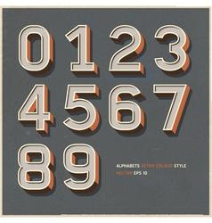 Alphabet number retro color vector image vector image