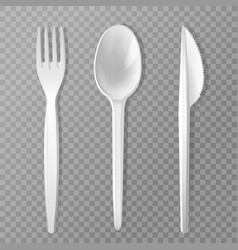 realistic disposable fork knife spoon vector image