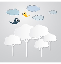 White Trees Cut From Paper with Clouds and Birds vector image