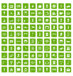 100 smart house icons set grunge green vector