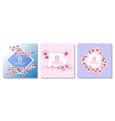 8 march happy womens day cards set vector