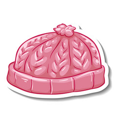 a sticker template with pink beanie hat isolated vector image