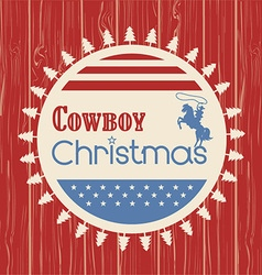 American cowboy christmas greeting card on wood vector