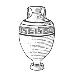 antique greek amphora sketch engraving vector image