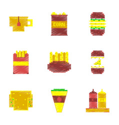 assembly of flat shading style pixel icon fast vector image