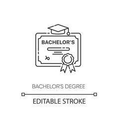 bachelors degree pixel perfect linear icon vector image