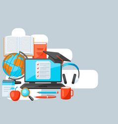 Background with online studying at home items vector