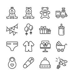 Bashower line icon set vector