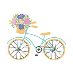 bicycle with a basket full flowers vector image