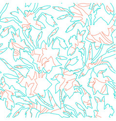 botanical seamless pattern with contour hand drawn vector image
