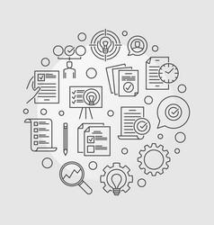 Business action plan circular outline vector