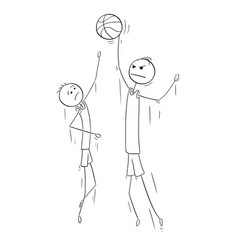 cartoon of two tall basketball players jumping to vector image