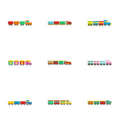 Children train icons set flat style vector