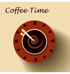 Coffee cup as clock vector image