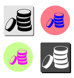 coins stack money stacked coins flat icon vector image