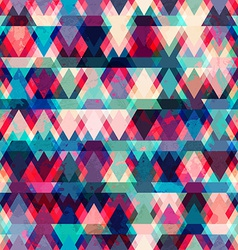 colorful triangle seamless pattern with grunge vector image