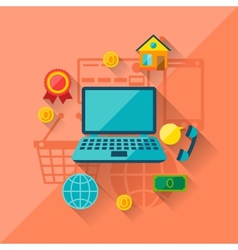 concept of internet shopping in flat design style vector image