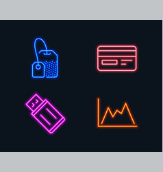 credit card usb flash and tea bag icons diagram vector image